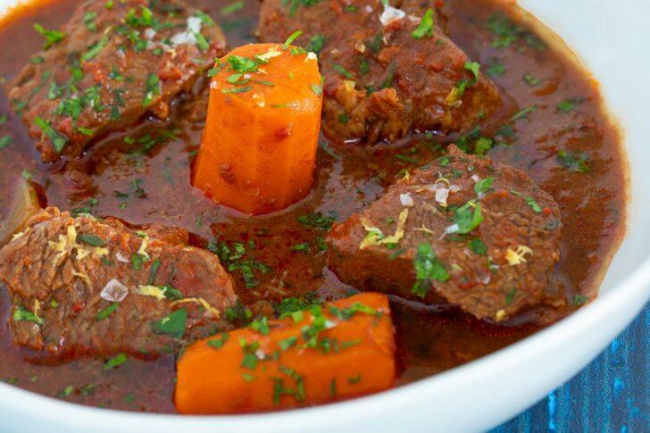 Closeup beef goulash in bowl
